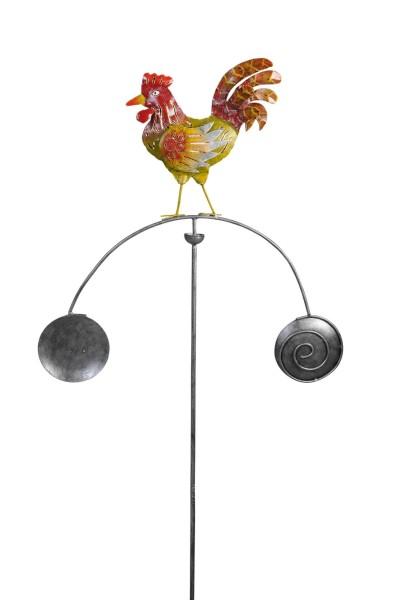 Gartenpendel, Hahn, Grün-Rot, 140 x 75 x 8 cm – kunstvoll handbemalt