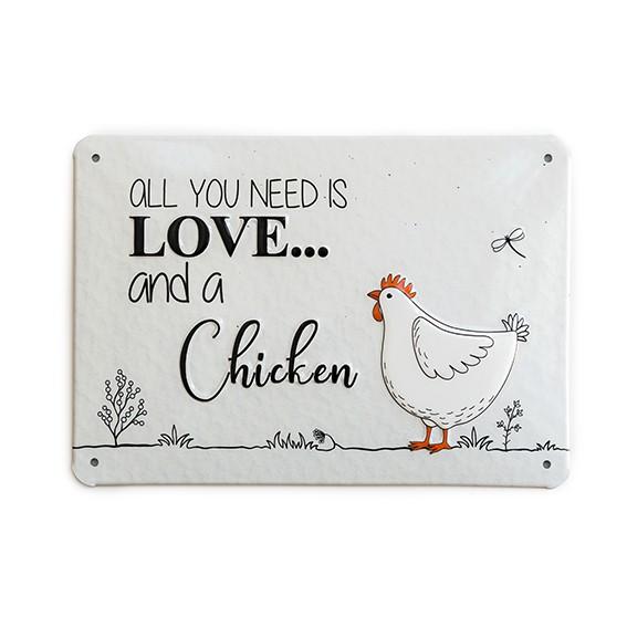 """Alu-Schild Little Farm Design """"Love"""", gewölbt und geprägt 14,8 x 21 cm"""