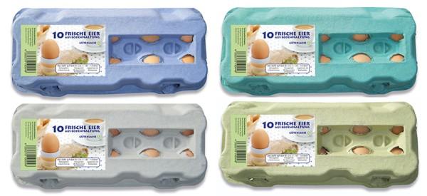 1 Stück 10er Eierkartons mit Etikett Bodenhaltung