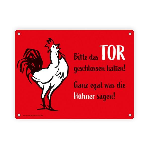 """Dekoratives Blechschild """"Bitte das Tor geschlossen halten …"""", rot 15 x 20 cm"""