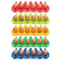 Wiederverwendbare Kunststoff Eierhorden / Höckerlagen für 30 Eier, blau, grün, gelb, rot grün