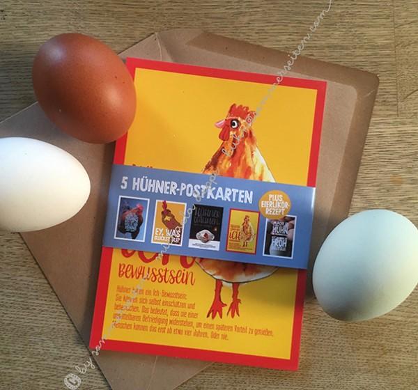"""Postkarten-Set """"Hühnerliebe"""" by Sommerseiten mit 5 originellen Hühnermotiven"""