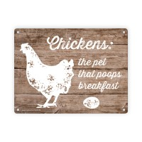 "Dekoratives Blechschild ""Chickens: the pet that poops breakfest"" 15 x 20 cm"