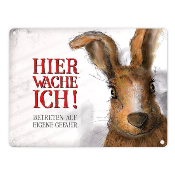 """Dekoratives Blechschild mit Hase/Kaninchen """"HIER WACHE ICH"""" 15x20 cm"""