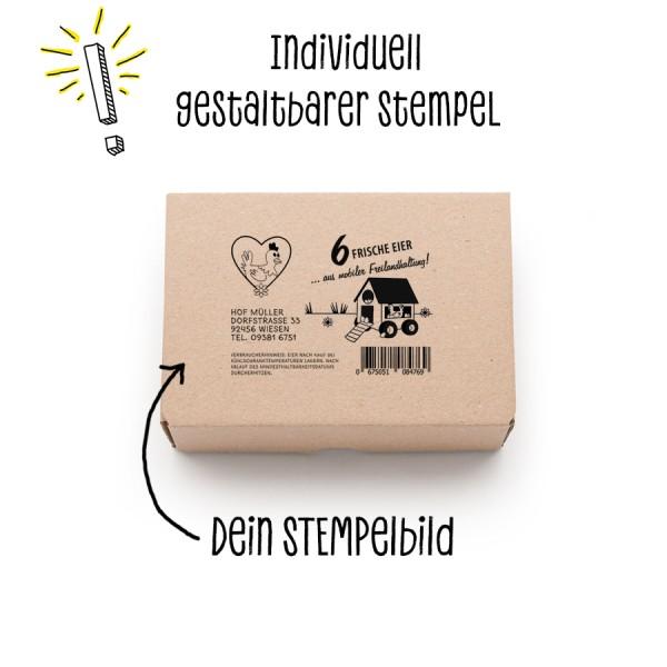 Stempel für Eierschachteln 6er EckPack – Stempel statt Etikett