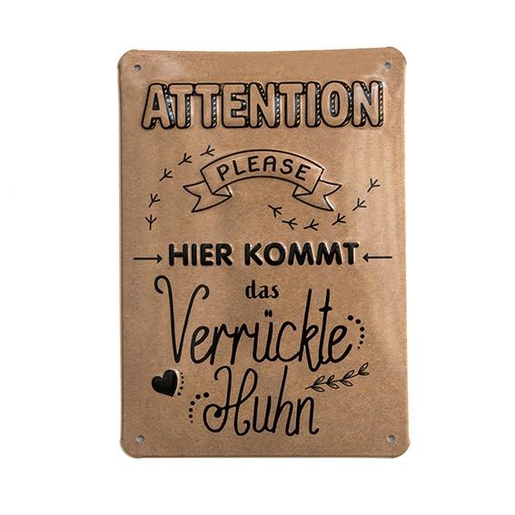 """Alu-Schild designed by Hühnergeschichten """"Attention"""", gewölbt und geprägt 14,8 x 21 cm"""