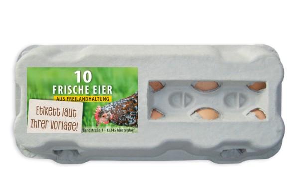 510 Stück 10er Eierschachteln TopView mit eigenem Etikett im Vorteilspaket