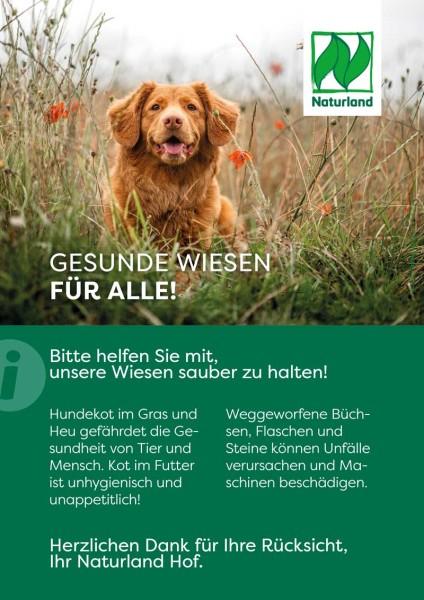 """Schild Naturland – Verbraucherinformation """"Gesunde Wiesen"""""""