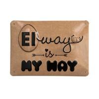 """Alu-Schild Hühnergeschichten """"Eiway"""", gewölbt und geprägt 14,8 x 21 cm"""