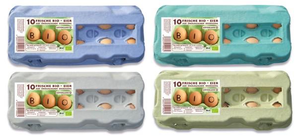 1 Stück 10er Eierkartons mit Etikett Biohaltung