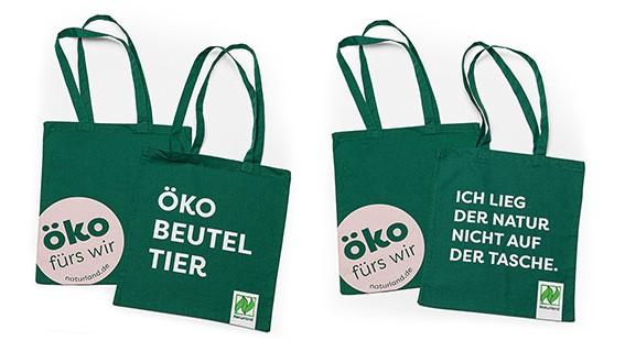 """Stoff-Tragetasche – 100 % faire Baumwolle """"Öko fürs wir"""" 10 Stück"""