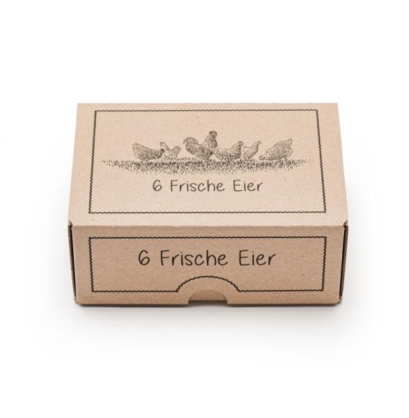 """1 Stück EckPack 6er Eierschachtel mit Direktdruck """"Frische Eier"""""""